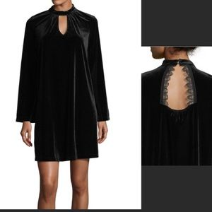 Nanette Lepore Velvet Keyhole Chocker Lace Dress